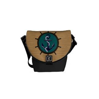 Nautical Anchor Ships Wheel Helm Sailor Design Courier Bags