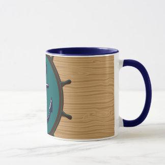 Nautical Anchor Ships Wheel Helm Sailor Design Mug