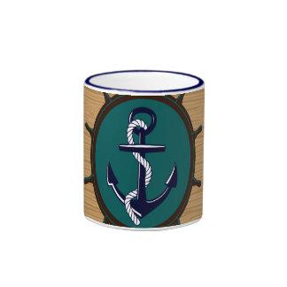 Nautical Anchor Ships Wheel Helm Sailor Design Coffee Mugs