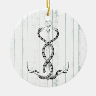 Nautical Anchor snakes Double-Sided Ceramic Round Christmas Ornament