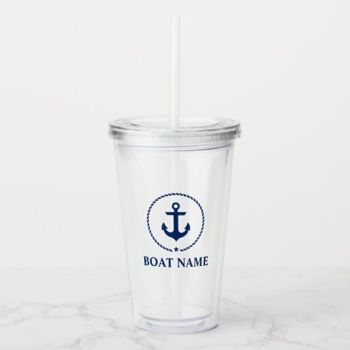 Nautical Anchor Star Boat Name Acrylic Tumbler