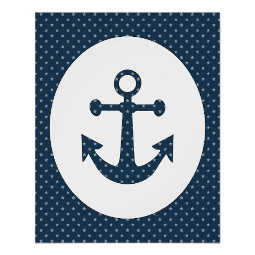 Nautical Anchor Star Poster Art Any Color!!