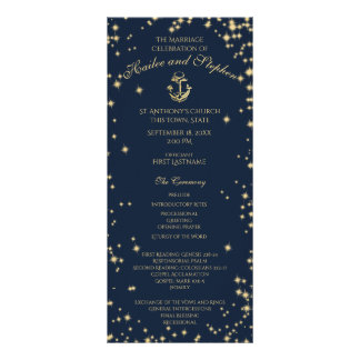Nautical Anchor Starry Sky Navy Blue and Gold Rack Card