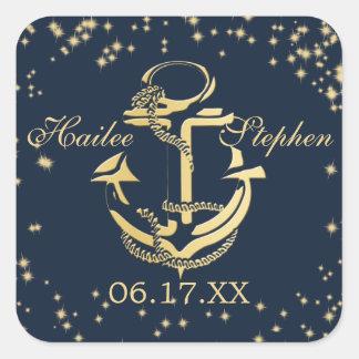 Nautical Anchor Starry Sky Square Sticker