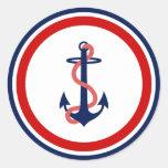 Nautical Anchor Stickers Red White Blue Round Sticker