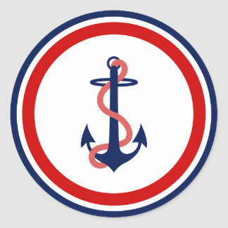 Nautical Anchor Stickers Red White Blue