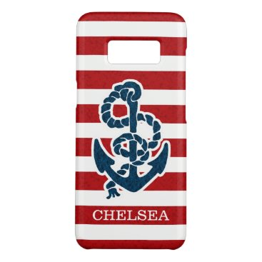 Beach Themed Nautical Anchor Stripe Pattern and Name Case-Mate Samsung Galaxy S8 Case