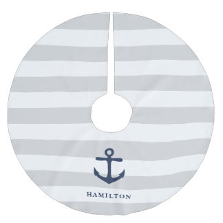 Nautical Anchor & Stripe Personalized Brushed Polyester Tree Skirt