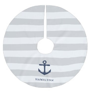 Beach Themed Nautical Anchor & Stripe Personalized Brushed Polyester Tree Skirt