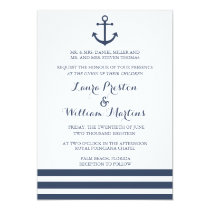 Nautical Anchor & Striped Wedding Invitation