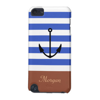 Nautical Anchor Stylish Navy Blue Stripes Pattern iPod Touch 5G Case