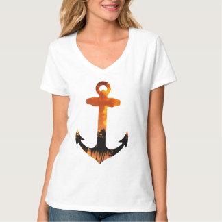 Nautical Anchor Sunset Palm Tree Beach T-Shirt