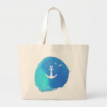 produkto Nautical Anchor Theme in Watercolor. Large Tote Bag