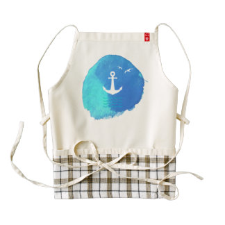 Nautical Anchor Theme in Watercolor. Zazzle HEART Apron
