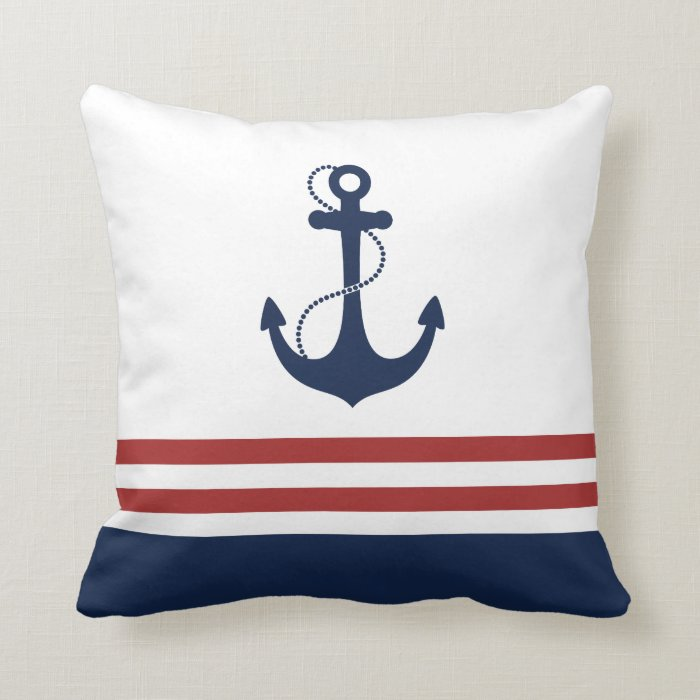 Nautical Coastal Throw Pillows : Nautical Anchor Throw Pillow Zazzle