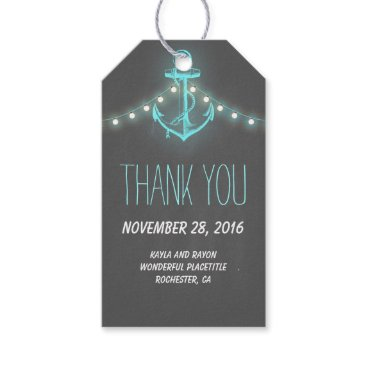 Beach Themed Nautical Anchor Turquoise Chalkboard Wedding Gift Tags