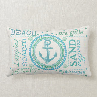 nautical anchor typography beach lumbar pillow