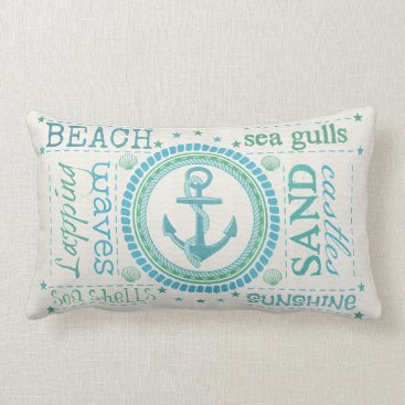 jamiecreates1 Nautical Anchor Typography Beach Lumbar Pillow