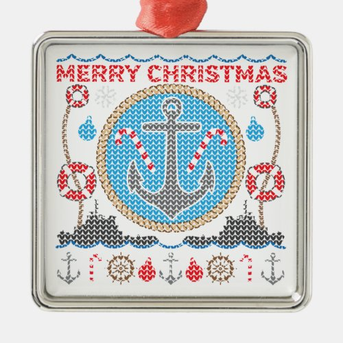 Nautical Anchor Ugly Christmas Sweater Ornament