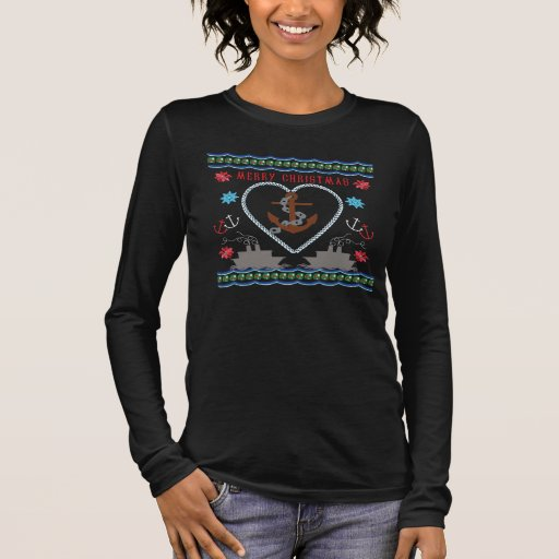 Nautical Anchor Ugly Christmas Sweater T-Shirt