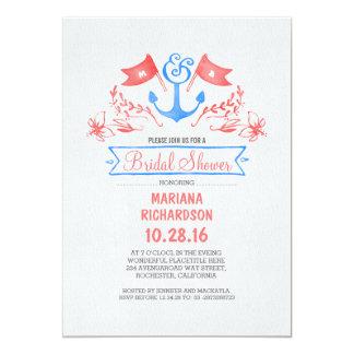 Nautical anchor vintage beach bridal shower card