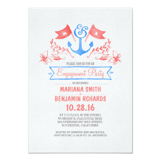 Nautical anchor vintage beach engagement party card