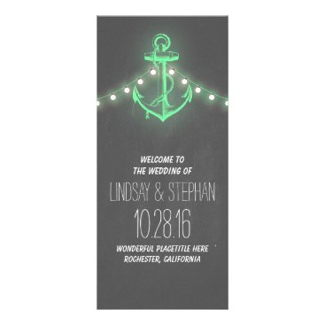 Beach Themed nautical anchor vintage chalkboard wedding program
