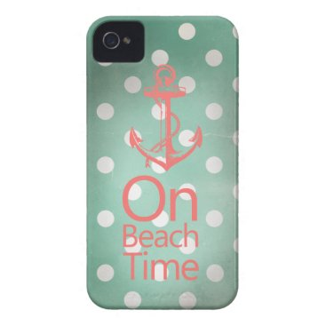Beach Themed Nautical Anchor Vintage Mint Green Polka Dot iPhone 4 Case