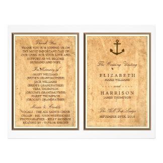 Nautical Anchor Vintage Paper Wedding Program