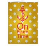 Nautical Anchor Vintage Yellow Polka Dot Greeting Card