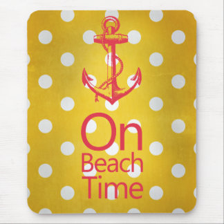 Nautical Anchor Vintage Yellow Polka Dot Mouse Pads