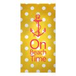 Nautical Anchor Vintage Yellow Polka Dot Photo Greeting Card