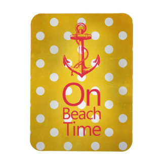 Nautical Anchor Vintage Yellow Polka Dot Rectangular Photo Magnet