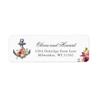 Nautical Anchor Watercolor Floral Knot Label