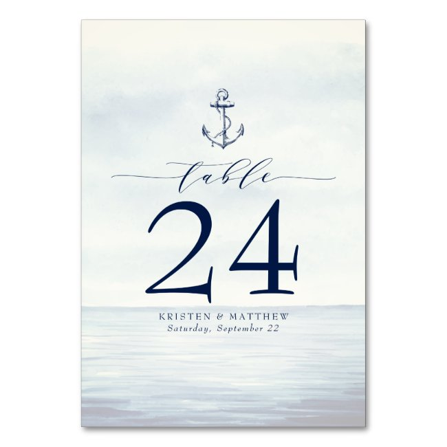 Nautical Anchor Watercolor Ocean Navy Blue Table Number