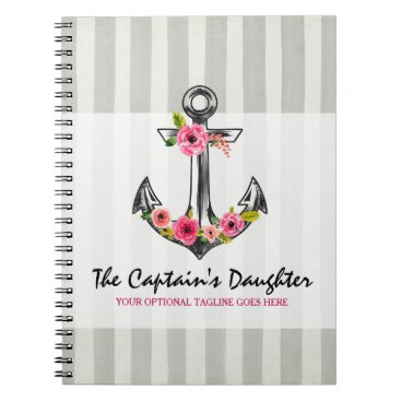 Nautical Anchor Watercolor Roses Beach Boutique Notebook