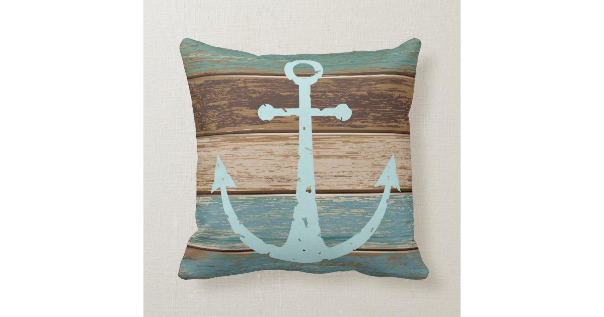 Coastal Inspired Throw Pillows : Nautical Anchor Weathered Wood Coastal Themed Throw Pillow Zazzle