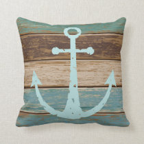 Nautical Anchor Weathered Wood Coastal Themed Throw Pillow