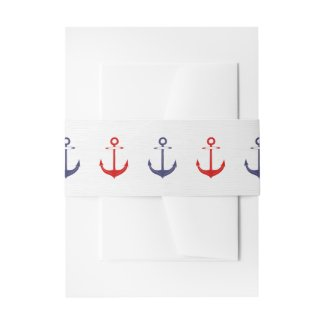 Nautical Anchor Wedding Belly Band Invitation Belly Band