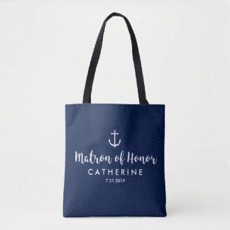 Nautical Anchor Wedding Custom Matron of Honor Tote Bag