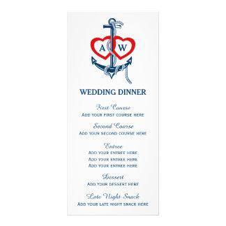 Nautical anchor Wedding dinner menu template Customized Rack Card