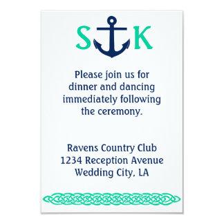 Nautical Anchor Wedding Invitation Enclosure Teal