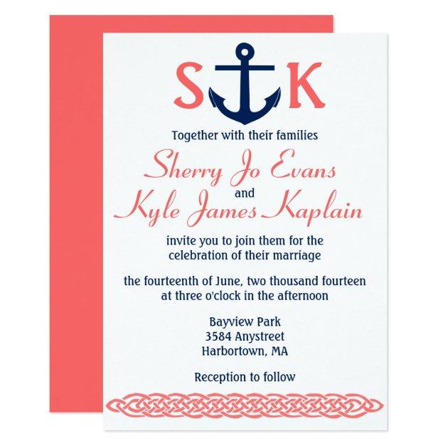 Nautical Anchor Wedding Invitation Navy and Coral Zazzle