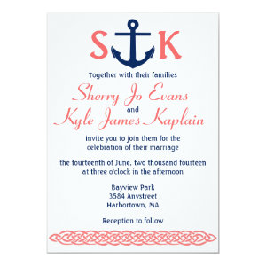 Nautical Anchor Wedding Invitation Navy and Coral 5