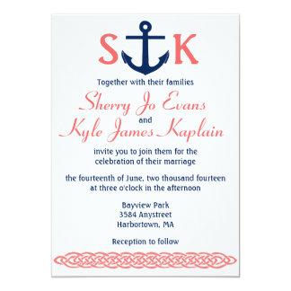 Nautical Anchor Wedding Invitation Navy and Coral