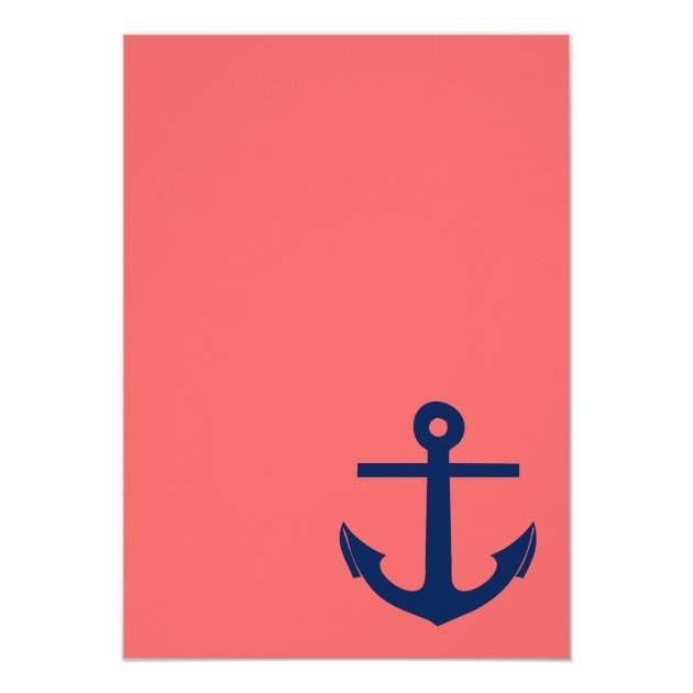 Nautical Anchor Wedding Invitation Navy and Coral Zazzlecom