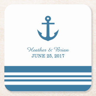 Nautical Anchor Wedding Paper Coasters
