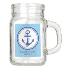 Nautical Anchor Wedding Party Custom Color Favor Mason Jar at Zazzle