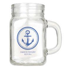 Nautical Anchor Wedding Party Date Custom Favor Mason Jar at Zazzle