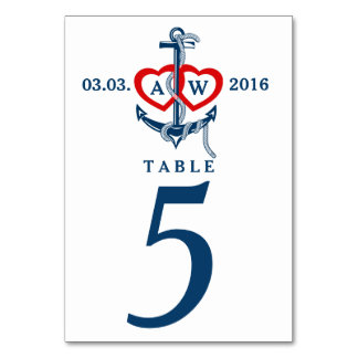 Nautical anchor Wedding table numbers Wedding set Card